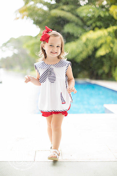 Sailor Set - Worth Avenue White with Navy Stripe, Sailboat Appliqué and Richmond Red Bloomers