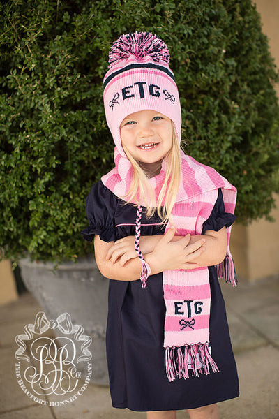 Frances Fringe Scarf - Plantation Pink with Nantucket Navy and Hamptons Hot Pink