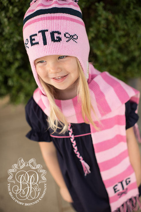 Parrish Pom Pom Hat - Plantation Pink with Nantucket Navy and Hamptons Hot Pink