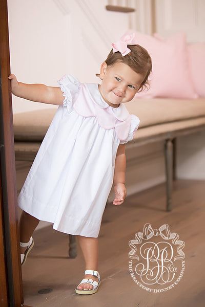 McFarland Frock - Worth Avenue White with Plantation Pink & Bow Embroidery