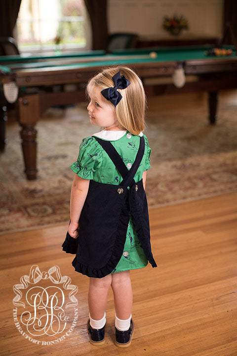 Penny's Pinafore Dress - Nantucket Navy Corduroy with Quack, Quack, Honk Dress & Bloomers