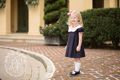 Frenchy Frock - Nantucket Navy with Plantation Pink and Hamptons Hot Pink