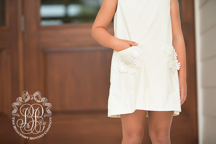 Primland Play Dress - Bellport Butter with Floral Eyelet Trim