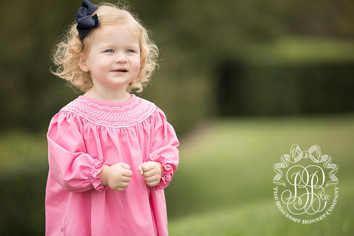 Long Sleeve Sandy Smocked Dress - Hamptons Hot Pink with Worth Avenue White