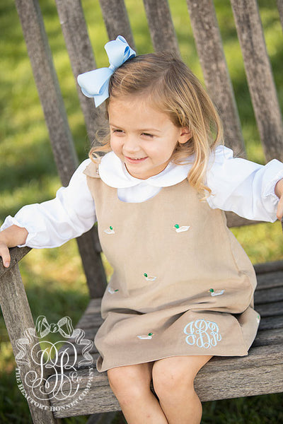 Juliet Jumper - Keeneland Khaki Corduroy with Mississippi Mallard Embroidery