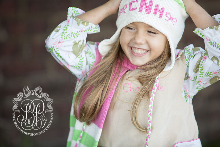 Parrish Pom Pom Hat - Palmetto Pearl with Lexington Lime and Hamptons Hot Pink
