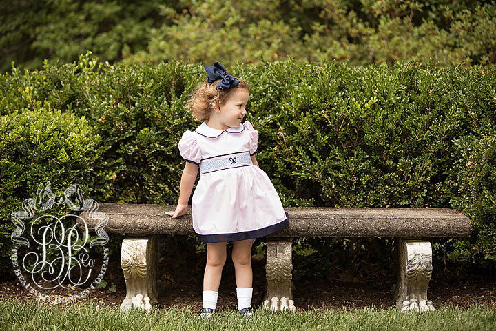 MacClare Cap Sleeve Dress - Plantation Pink with Buckhead Blue Smocking and Navy Trim