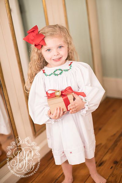 Pearl Pintuck Dress - Worth Avenue White with Wreath and Bow Smocking