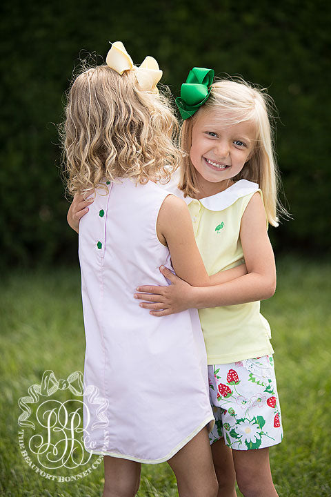 Paige's Playful Sleeveless Polo - Seaside Sunny Yellow with Worth Avenue White and Kelly Green Stork