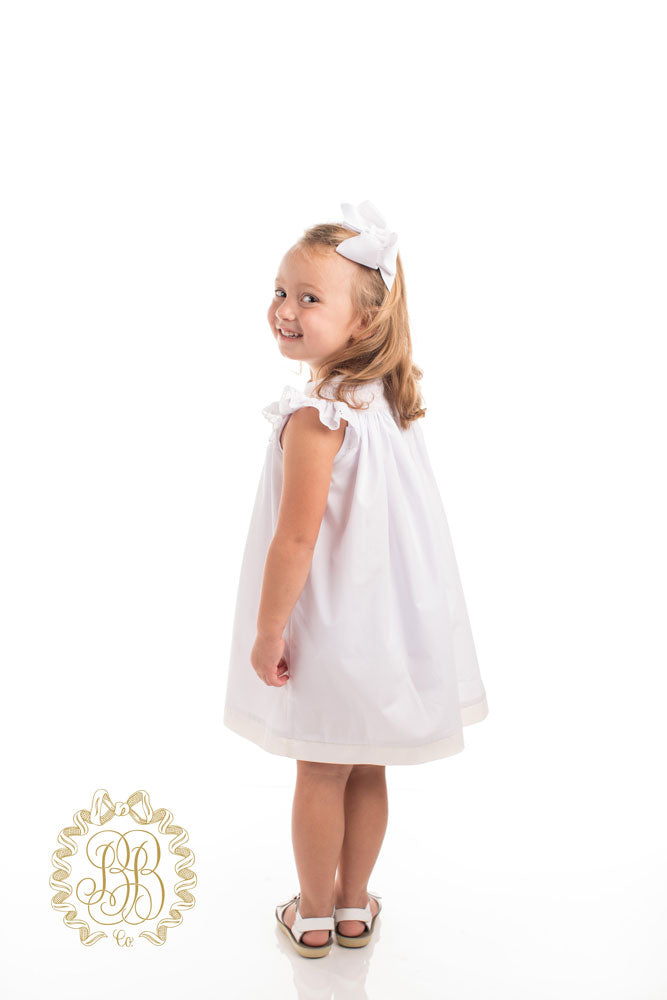 Sandy Smocked Dress - Worth Avenue White with Palmetto Pearl Smocking and Eyelet