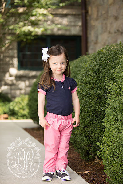 Little Miss Prim & Proper Polo Shirt - Nantucket Navy with Hamptons Hot Pink