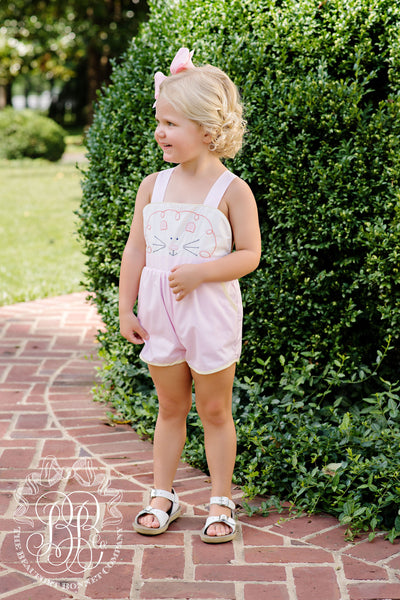 Ruthie Romper - Plantation Pink with Lion Applique