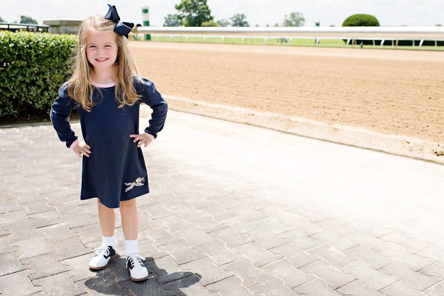 Eleanor's Elbow Patch Dress - Nantucket Navy with Horse Applique