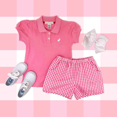 Little Miss Prim & Proper Polo - Hamptons Hot Pink with White Stork