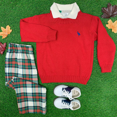 Isaac's Sweater - Richmond Red with Nantucket Navy Stork