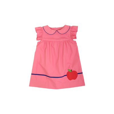 Angel Sleeve Holly Day Dress - Hamptons Hot Pink with Del Ray Dark Blue and Apple Appliqué