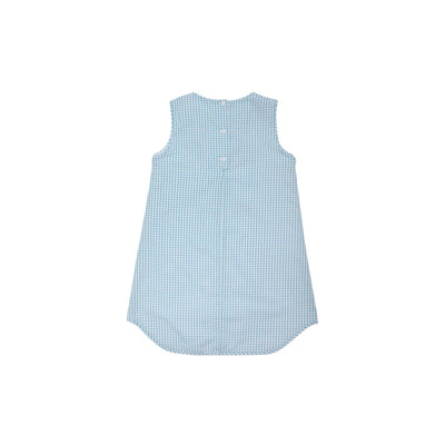 Annie Apron Dress - Sandpearl Pink and Brookline Blue Windowpane with Appliques