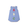 Annie Apron Dress - Park City Periwinkle with ABC Appliqué and Pinecrest Plaid Trim
