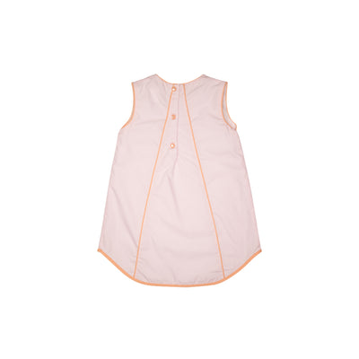 Annie Apron Dress - Plantation Pink with Seashore Sherbet Gingham Bow Appliques