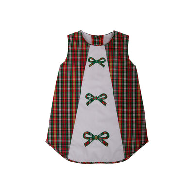Annie Apron Dress - Keswick Hall Holiday Plaid with Bow Appliques