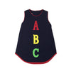 Annie Apron Dress - Nantucket Navy with Red and ABC Applique