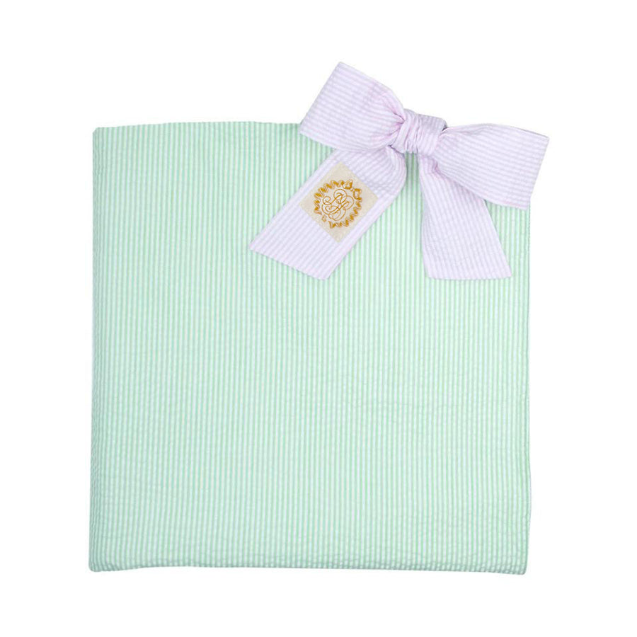 Bonnie Beach Towel - Marietta Mint Seersucker with Pink Savannah SeersuckerTies
