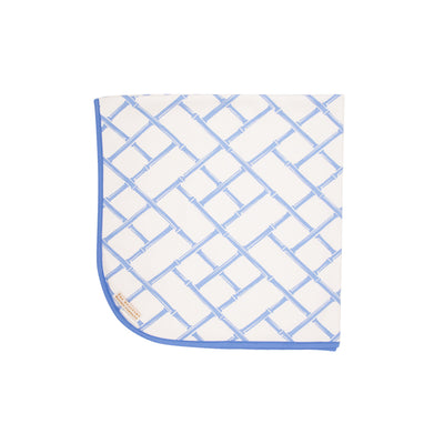 Baby Buggy Blanket - Bamboo Proverbs with Barbados Blue