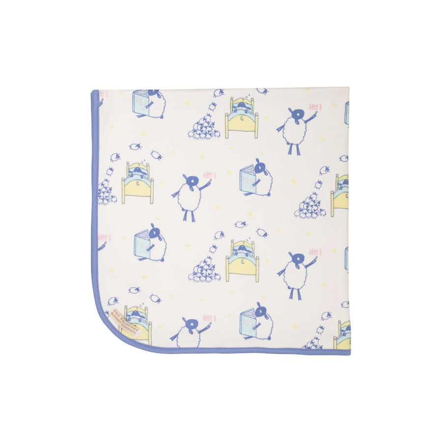 Baby Buggy Blanket - Counting Sheep with Park City Periwinkle