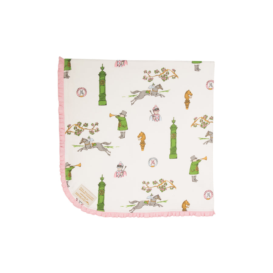 Baby Buggy Blanket - Keeneland Custom Print with Plantation Pink