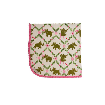 Baby Buggy Blanket - Highland Park Peanut with Hamptons Hot Pink Trim