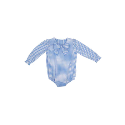 Beatrice Bow Blouse - Park City Periwinkle Check