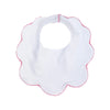 Bellyful Bib - White with Hamptons Hot Pink Picot Trim