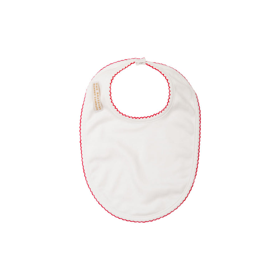 Bellyfull Bib - Worth Avenue White with Richmond Red