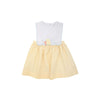 Brady Button-In Dress - Worth Avenue White & Bellport Butter Yellow with Duck Applique