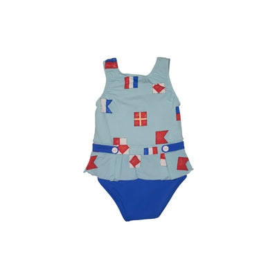 Bridgehampton Bathing Suit - New Street Nautical Flags with Rockefeller Royal