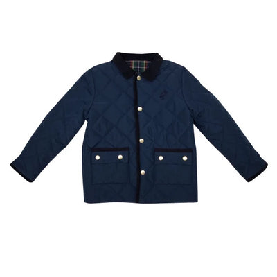 Caldwell's Quilted Coat - Nantucket Navy with Plaid Lining
