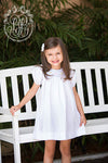 Sandy Smocked Dress - Worth Avenue White with Flower and Bow Scalloped Smocking