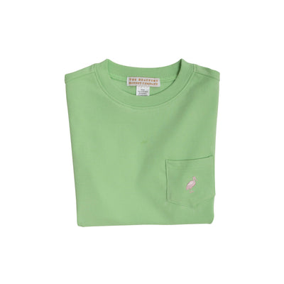 Carter Crewneck (with pocket) - Mandeville Mint with Palm Beach Pink Stork