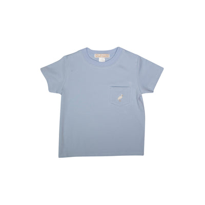 Carter Crewneck - Buckhead Blue with Two Tone Stork and Pocket