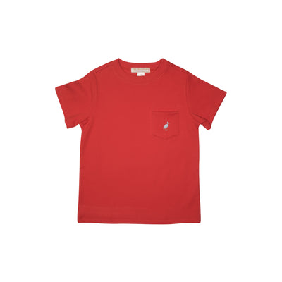 Carter Crewneck - Richmond Red with Buckhead Blue Stork and Pocket