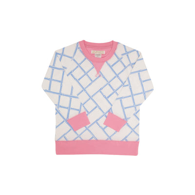 Cassidy Comfy Crewneck - Bamboo Proverbs with Hamptons Hot Pink
