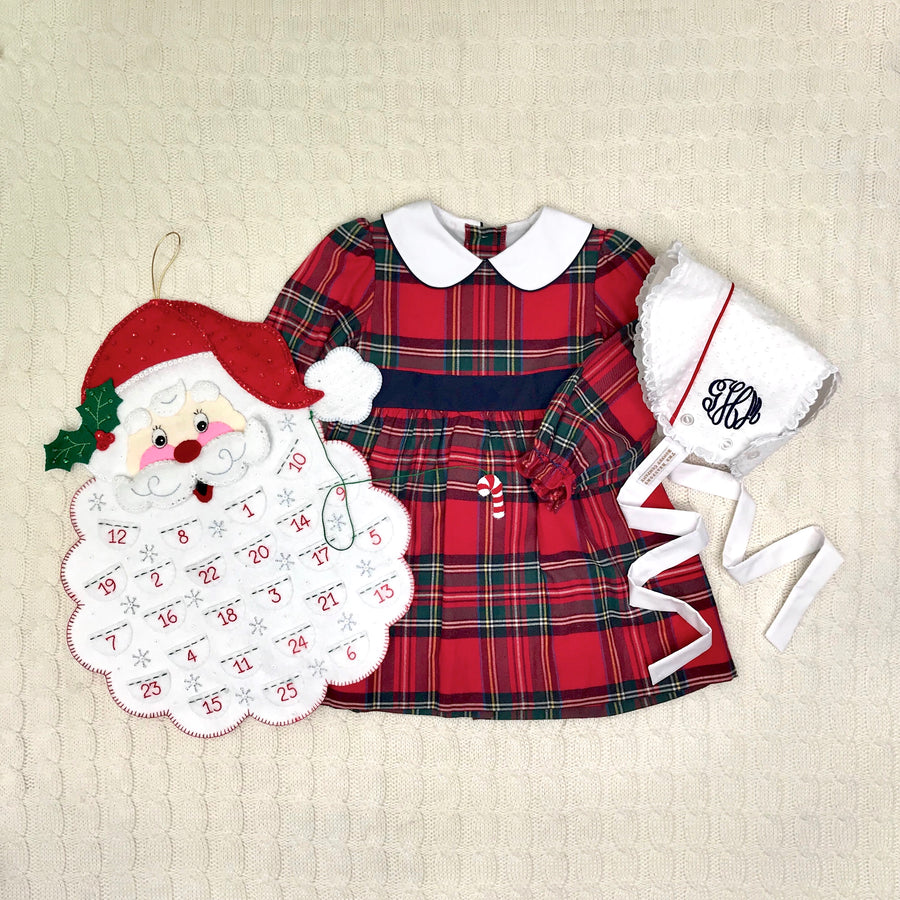 Long Sleeve Cindy Lou Sash Dress -  Society Prep Plaid with Nantucket Navy