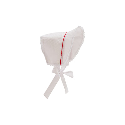 Catesby Country Club Bonnet - Worth Avenue White Dixie Dot with Richmond Red Silk