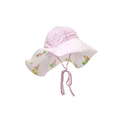 Cissy Sun Hat - Pink Grand Greenbrier Gingham with Plantation Pink and Biltmore Bouquet