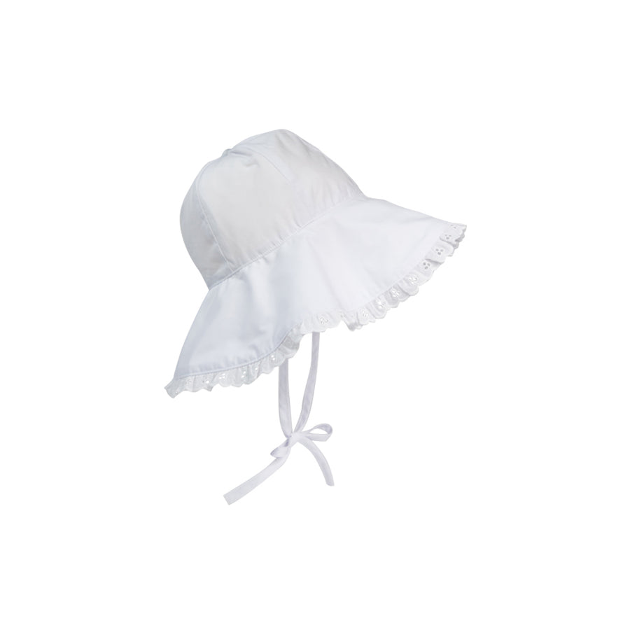Cissy Sun Hat - Worth Avenue White with Eyelet Trim