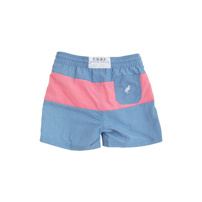 Country Club Colorblock Trunks - Park City Periwinkle & Hamptons Hot Pink