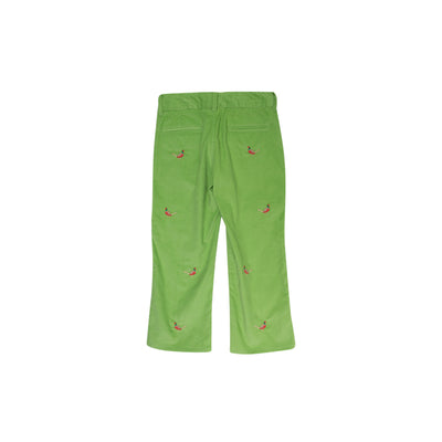 Critter Prep School Pants (Corduroy) - Grenada Green with Pheasant Embroidery