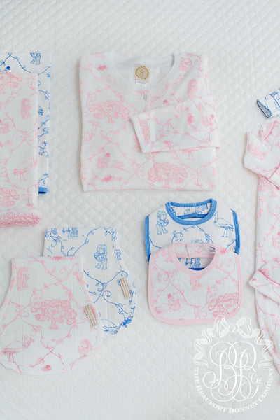 Bellyful Bib - Chinoiserie Charm with Palm Beach Pink