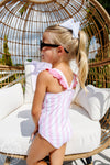 Long Bay Bathing Suit - Caicos Cabana Stripe with Hamptons Hot Pink