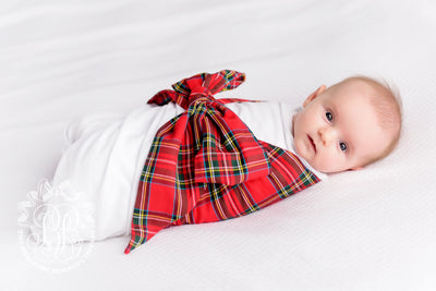 Bow Swaddle <sup>®</sup> - Worth Avenue White with Partridge Plaid
